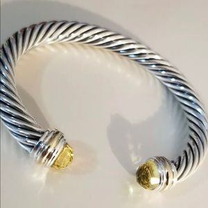David Yurman 7mm silver and 14k citrine bracelet